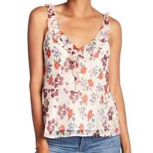 LUCKY BRAND NWT Floral Cascade Ruffle Tank Large